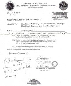 Image of memo with Aquino's marginal note, which Abad disregarded.