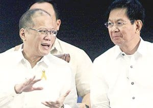Lacson (right) with Aquino, back in those days when they still believed in each other.