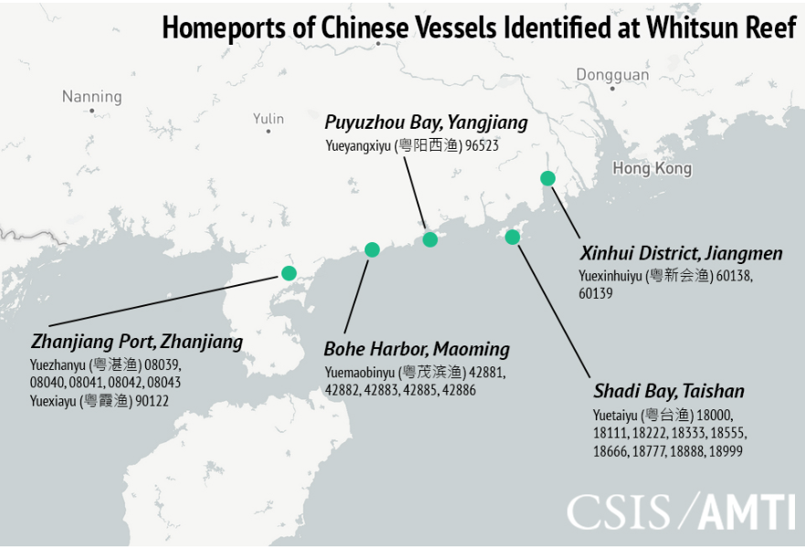 Homeports of Chinese Vessels Identified at Whitsun Reef