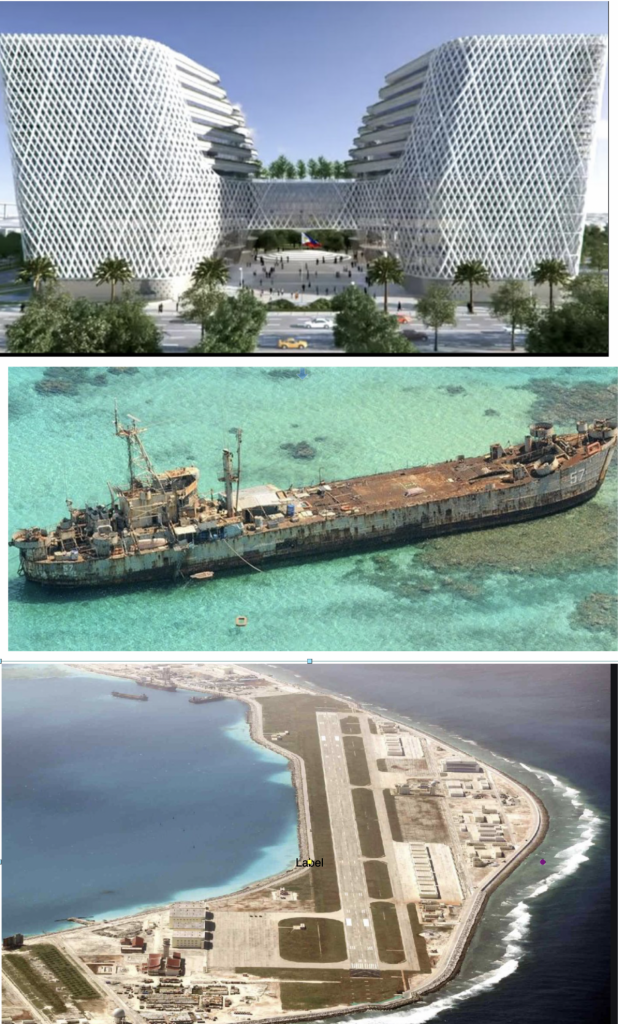 PRIORITIES: Top, illustration of P15 billion new Senate building; middle, our 'installation' at Ayungin Shoal; bottom, Chinese installation at Mischief Reef.